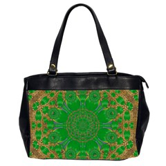Summer Landscape In Green And Gold Office Handbags (2 Sides)