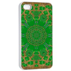 Summer Landscape In Green And Gold Apple iPhone 4/4s Seamless Case (White)