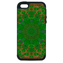 Summer Landscape In Green And Gold Apple iPhone 5 Hardshell Case (PC+Silicone)