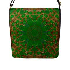Summer Landscape In Green And Gold Flap Messenger Bag (l)