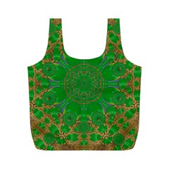 Summer Landscape In Green And Gold Full Print Recycle Bags (m)