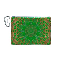 Summer Landscape In Green And Gold Canvas Cosmetic Bag (M)