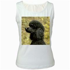 Poodle Black Women s White Tank Top