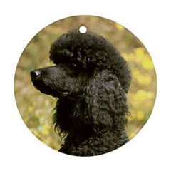Poodle Black Round Ornament (Two Sides)