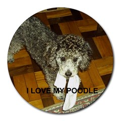 Poodle Love W Pic Silver Round Mousepads
