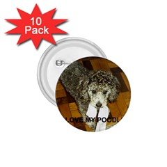 Poodle Love W Pic Silver 1.75  Buttons (10 pack)