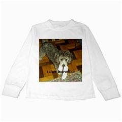 Poodle Love W Pic Silver Kids Long Sleeve T-Shirts