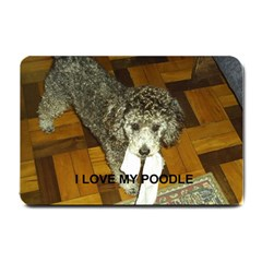 Poodle Love W Pic Silver Small Doormat