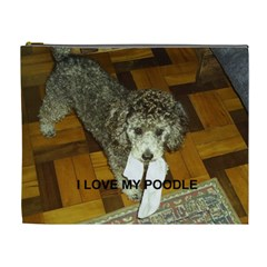 Poodle Love W Pic Silver Cosmetic Bag (XL)