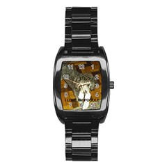 Poodle Love W Pic Silver Stainless Steel Barrel Watch