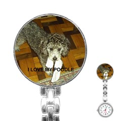 Poodle Love W Pic Silver Stainless Steel Nurses Watch