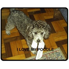 Poodle Love W Pic Silver Double Sided Fleece Blanket (Medium)