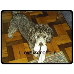 Poodle Love W Pic Silver Double Sided Fleece Blanket (Large)