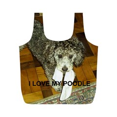 Poodle Love W Pic Silver Full Print Recycle Bags (M)
