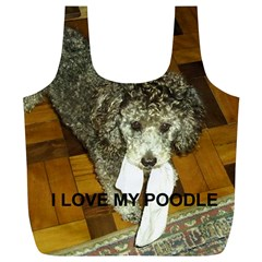 Poodle Love W Pic Silver Full Print Recycle Bags (L)