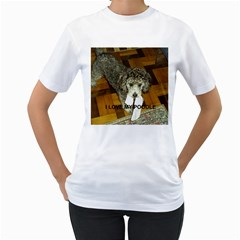 Poodle Love W Pic Silver Women s T-Shirt (White)