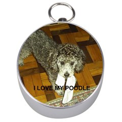 Poodle Love W Pic Silver Silver Compasses