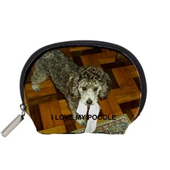 Poodle Love W Pic Silver Accessory Pouches (Small)