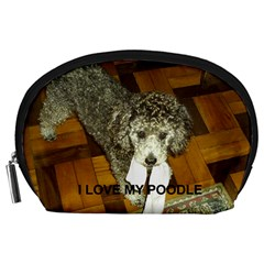 Poodle Love W Pic Silver Accessory Pouches (Large)