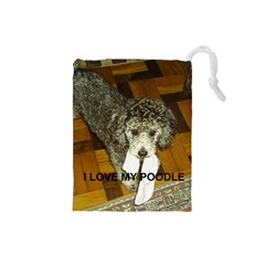 Poodle Love W Pic Silver Drawstring Pouches (Small)