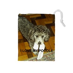Poodle Love W Pic Silver Drawstring Pouches (Medium)