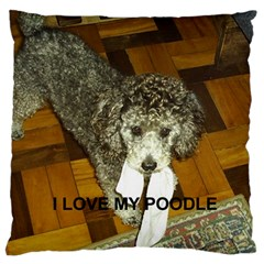 Poodle Love W Pic Silver Large Flano Cushion Case (One Side)