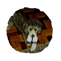 Poodle Love W Pic Silver Standard 15  Premium Flano Round Cushions