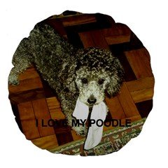 Poodle Love W Pic Silver Large 18  Premium Flano Round Cushions