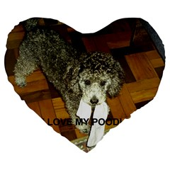 Poodle Love W Pic Silver Large 19  Premium Flano Heart Shape Cushions