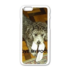 Poodle Love W Pic Silver Apple iPhone 6/6S White Enamel Case