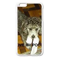 Poodle Love W Pic Silver Apple iPhone 6 Plus/6S Plus Enamel White Case