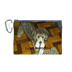 Poodle Love W Pic Silver Canvas Cosmetic Bag (M)