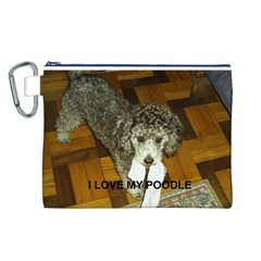 Poodle Love W Pic Silver Canvas Cosmetic Bag (L)