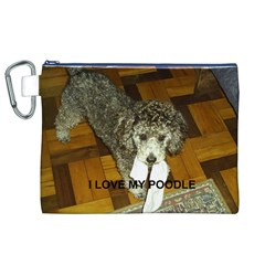Poodle Love W Pic Silver Canvas Cosmetic Bag (XL)