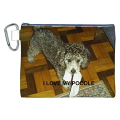 Poodle Love W Pic Silver Canvas Cosmetic Bag (XXL)