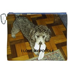 Poodle Love W Pic Silver Canvas Cosmetic Bag (XXXL)