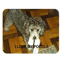 Poodle Love W Pic Silver Double Sided Flano Blanket (Large)