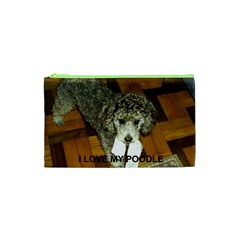 Poodle Love W Pic Silver Cosmetic Bag (XS)