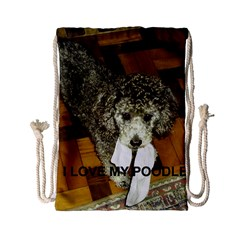 Poodle Love W Pic Silver Drawstring Bag (Small)
