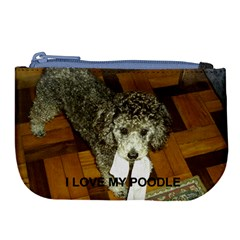 Poodle Love W Pic Silver Large Coin Purse
