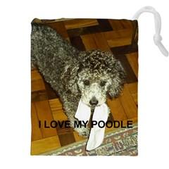 Poodle Love W Pic Silver Drawstring Pouches (XXL)