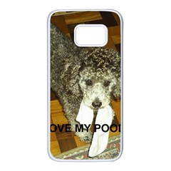 Poodle Love W Pic Silver Samsung Galaxy S7 White Seamless Case