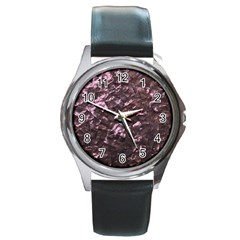 Pink Rainbow Shimmering Mother of Pearl Round Metal Watch