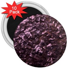 Pink Rainbow Shimmering Mother of Pearl 3  Magnets (10 pack)