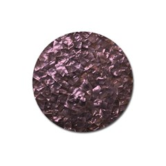 Pink Rainbow Shimmering Mother of Pearl Magnet 3  (Round)