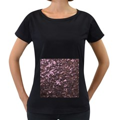 Pink Rainbow Shimmering Mother of Pearl Women s Loose-Fit T-Shirt (Black)