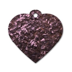Pink Rainbow Shimmering Mother of Pearl Dog Tag Heart (One Side)