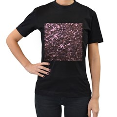 Pink Rainbow Shimmering Mother of Pearl Women s T-Shirt (Black)