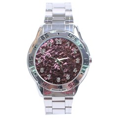 Pink Rainbow Shimmering Mother of Pearl Stainless Steel Analogue Watch