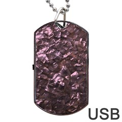 Pink Rainbow Shimmering Mother of Pearl Dog Tag USB Flash (One Side)